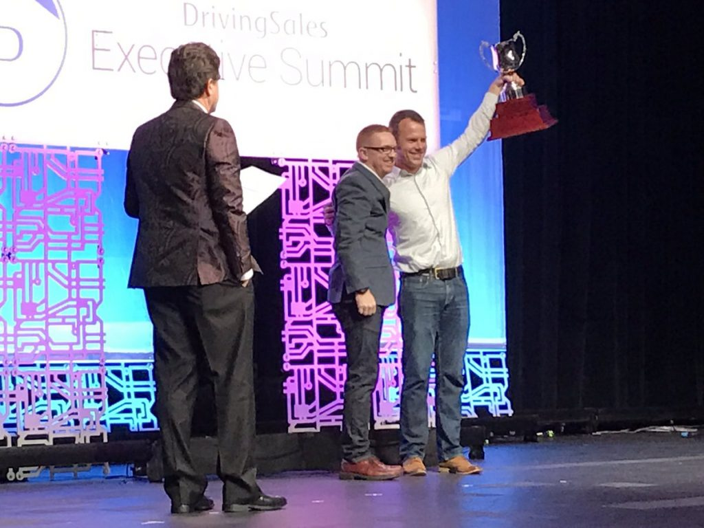 DrivingSales CEO Jared Hamilton with DSES 2016 Innovation Cup Winner - Steve White from Clarivoy