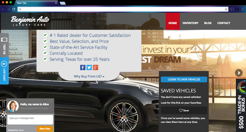 "Example of Dealership Homepage ""Attacking"" Visitors"
