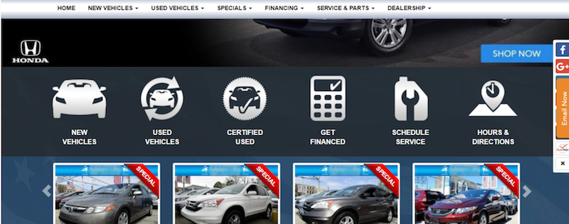 Example of Dealer Website with Multiple CTAs