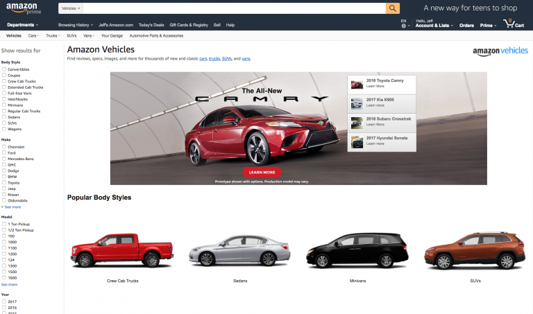 amazon selling vehicles